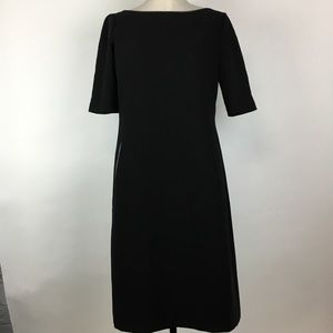 BR Black Short Sleeve Faux Leather Piping Dress